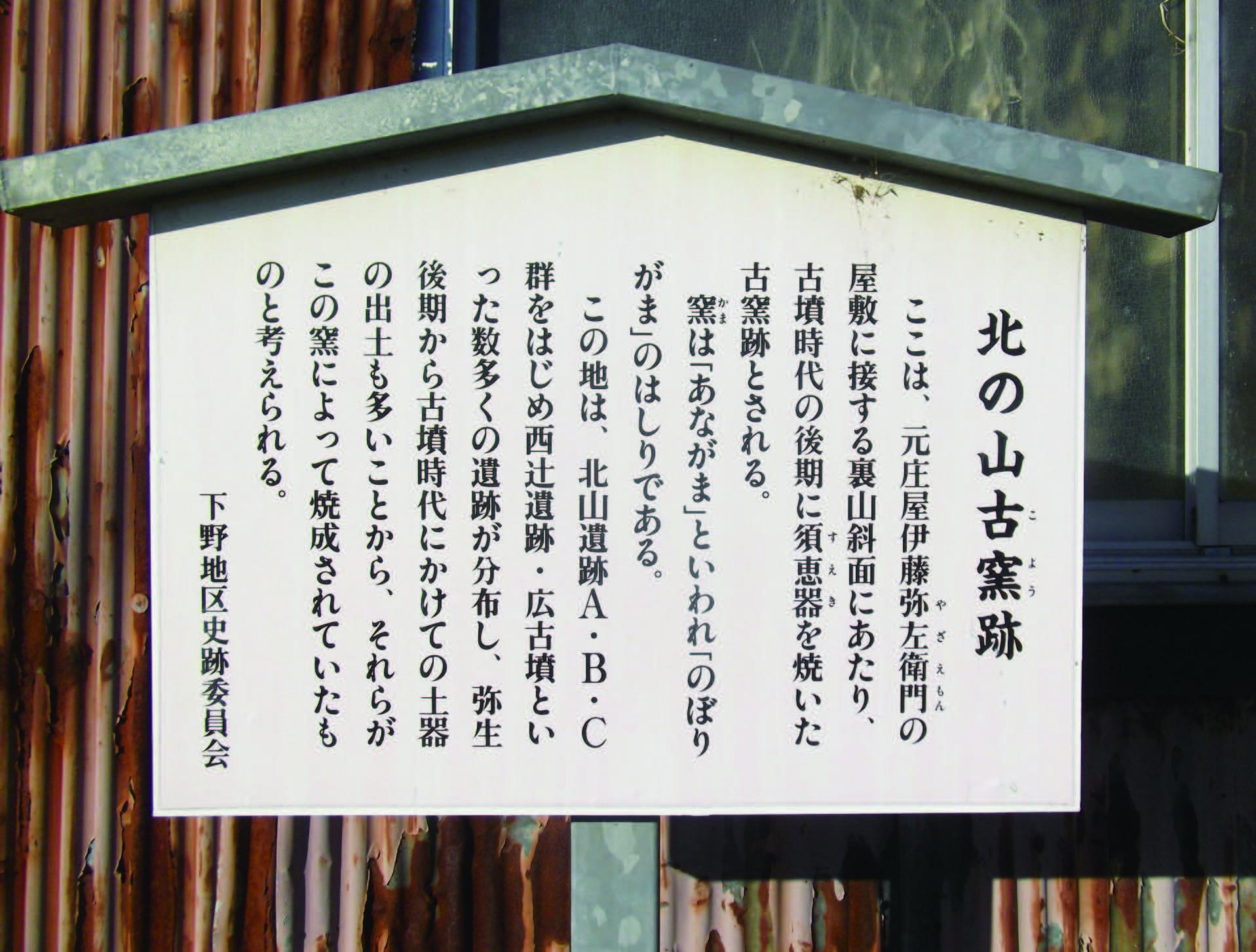 北ノ山古窯跡(西大鐘町)